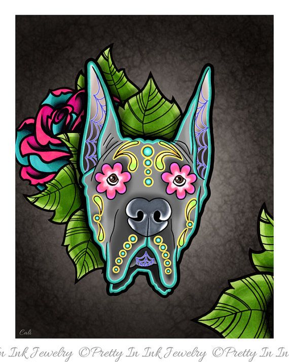 Great Dane - Cropped Ear Edition - Day of the Dead Sugar Skull Dog Art Print by Pretty In Ink Jewelry