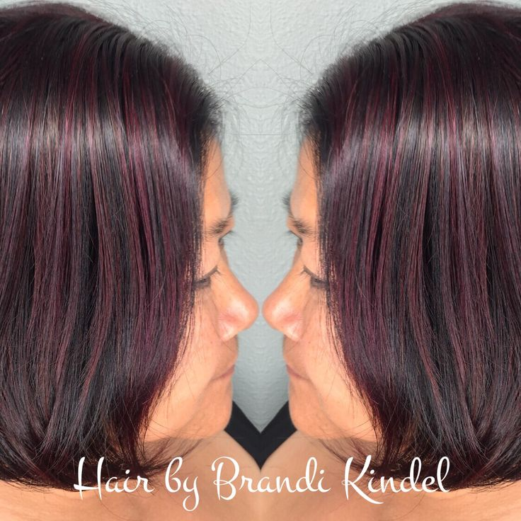 """Such a happy day for me!!! My good friend Vone came to see me at the salon for a makeover!!!! First we cut off about 9"""" then I did a heavy highlight using upto7 with 30V & Olaplex.  I then glazed with 3Rv but it was not bold enough so I overlaid with joico intensities Magenta to get this beautiful red violet highlight ❤️❤️❤️"""