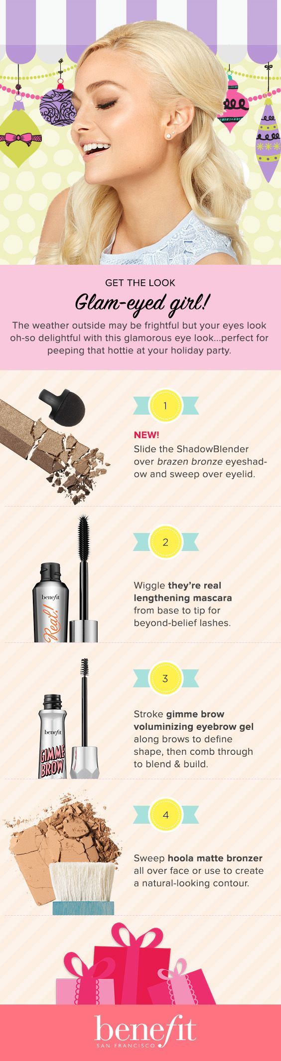 Get the glam eye look! Sweep on they're real eyeshadow & mascara, apply gimme brow to the brows and finish with hoola for a natural-looking contour! xx