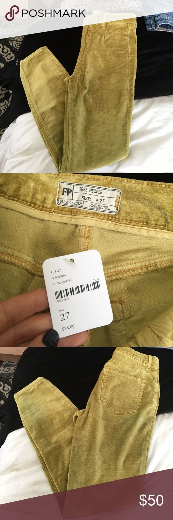 High waisted Free People jeans High waisted free People Jeans! lime/mustard green velvety pants. NWT Free People Jeans Skinny