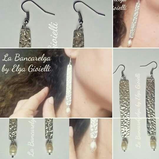"""Orecchini in alluminio con perle di fiume Visita la pagina Facebook """"La Bancarelga by Elga Gioielli"""" Remember to like on my Facebook page """"La Bancarelga by Elga Gioielli""""  https://www.facebook.com/LaBancarelga/  #gioielli #jewels #fattoamanoinitalia #fashion #handmade #madeinitaly #artigianato #madewithlove #madewithlove #fashion #pezziunici #pezziunicirealizzatiamano #earrings #orecchini #perle #perline #pendant #pearls #pearl #perledifiume #alluminio #aluminium"""