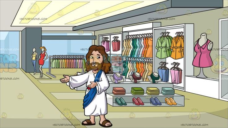 Jesus Christ Being Happy And Accommodating At A Clothing Store For Women:  Cartoon image of Jesus Christ with long brown hair beard and mustache wearing a white robe and brown sandals as well as a blue sash looking happy and nice lifts his right hand to his side to usher directions. Set in inside a shop that is selling ladies wear like blouses jackets suits coats shoes scarves bags and many more items displayed in racks two mannequins placed near the entrance with glass windows and door…