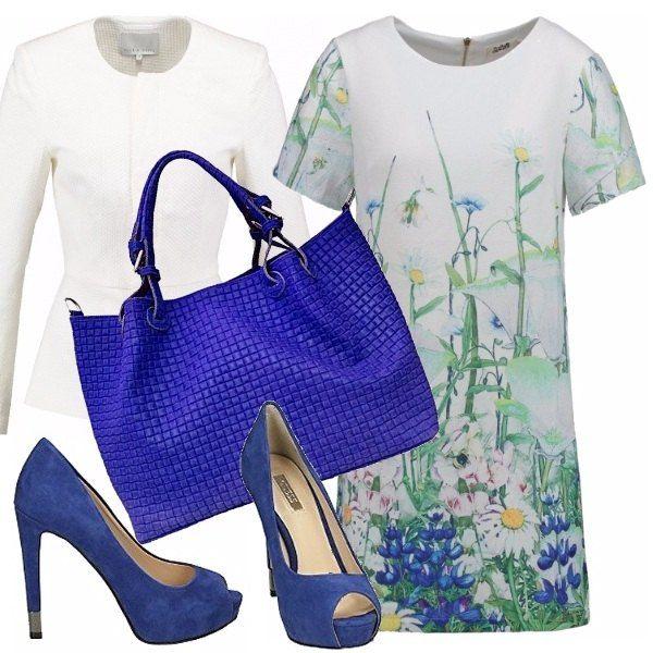 Abito floreale, giacchina bianca con spuntate in blu china che riprendono un pò i fiori dell'abito, una borsa con manico, intrecciata in pelle ed una giacca in texture bianco. Lasciamoci sorprendere da.... dallo specchio!! ;)