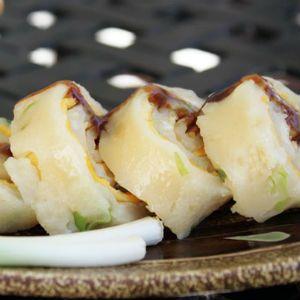 Taiwanese egg pancake roll A favourite Asian breakfast dish.