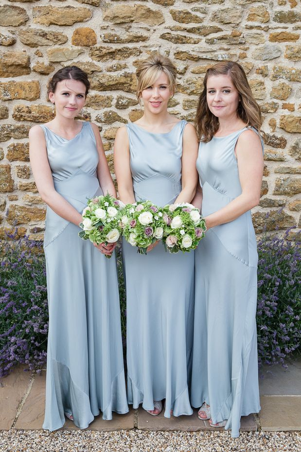 Powder blue bridesmaid dresses cut on a bias, in 1930's style!