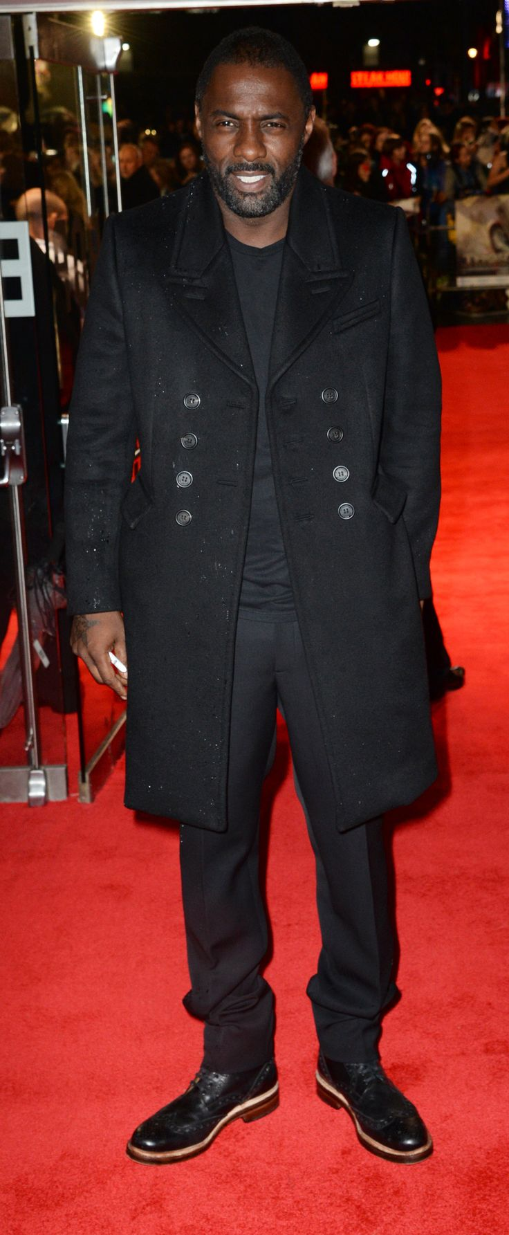 British actor Idris Elba wearing Burberry to the world premiere of Thor in London last night