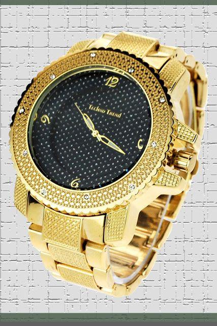 Techno Mens Hip Hop Iced Out Luxury Baller Diamond Bezel Analog Wristwatch Gold Price:     $23.71 & FREE Returns #LuxuryDiamondWatches #LuxuryWatches