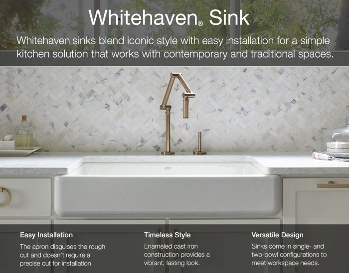 $830  KOHLER Whitehaven Undermount Apron-Front Cast Iron 30 in. Single Bowl Kitchen Sink in White-K-6487-0 - The Home Depot
