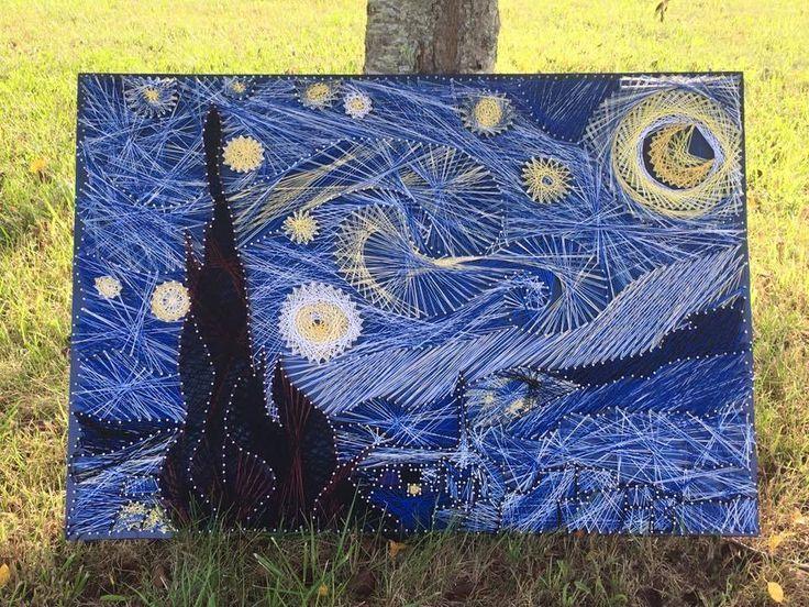 Starry Night Nail and String Art #LibertyNailArt