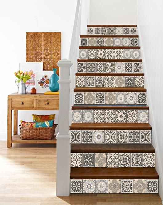Spanish Blue Mix Wall Tile Stickers Staircase Vintage Classic Decal Size:15cm