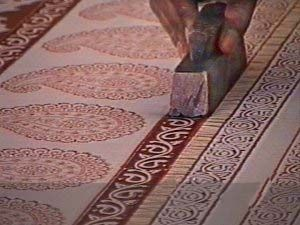 Block Printing in Dhamadka a village in Gujarat had many printers using predominantly madder root for red, rusty  iron solution for black and indigo for blue. These fabrics are known as Ajrakh. The designs are geometric.