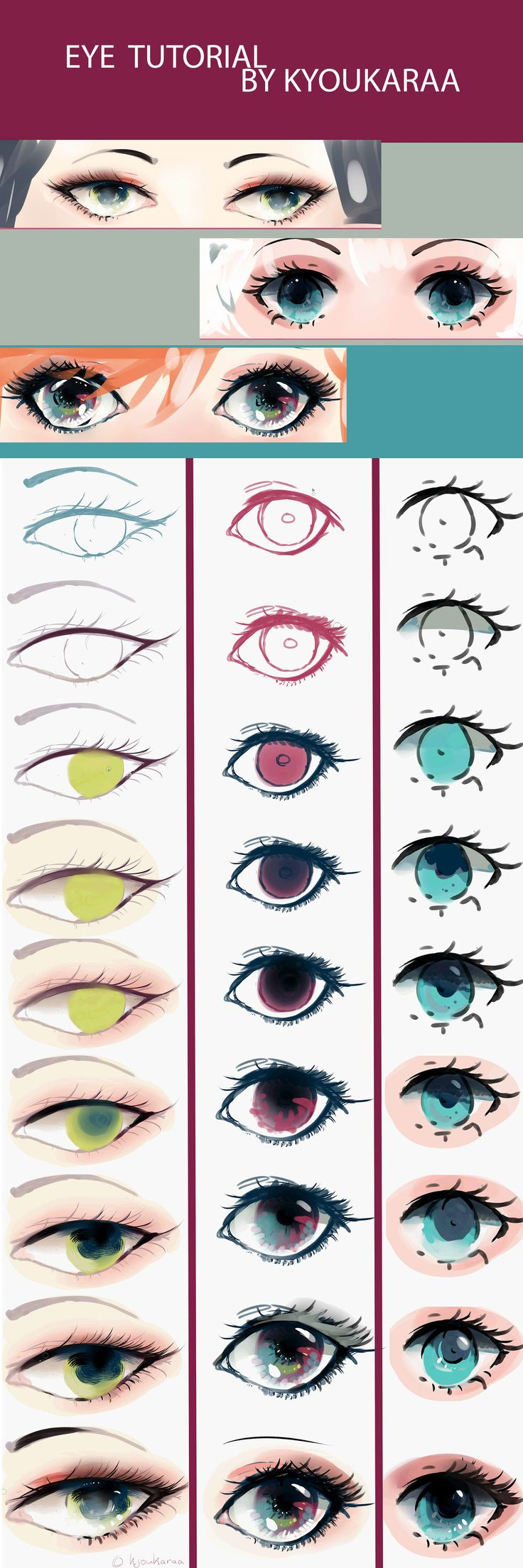 Eye Tutorial (+Video) by KyouKaraa.deviantart.com on @DeviantArt