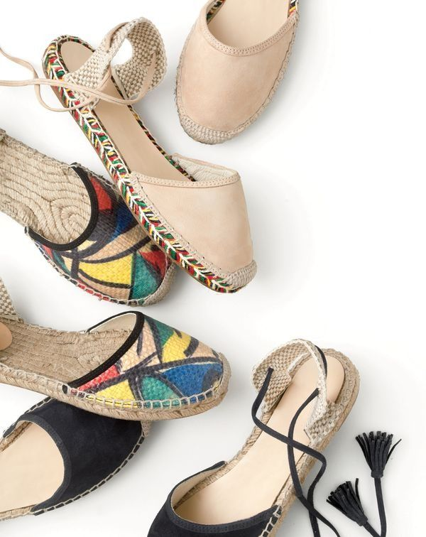 J.Crew women's Baja espadrilles in suede, raffia and navy suede.