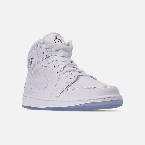 d231a53ddf7 Three Quarter view of Men s Air Jordan 1 Mid Premium Basketball Shoes in  White Concord White