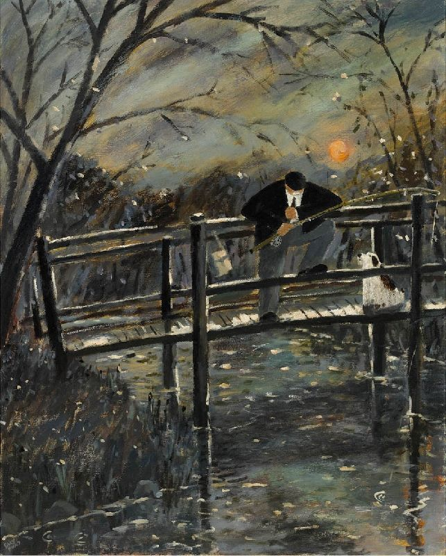 Gary Bunt - Bite You Bugger, Bite:  On an old wooden bridge Across the old millstream In the shadow of the evening light There's an old man fishing With his old faithful dog Whispering bite you bugger bite