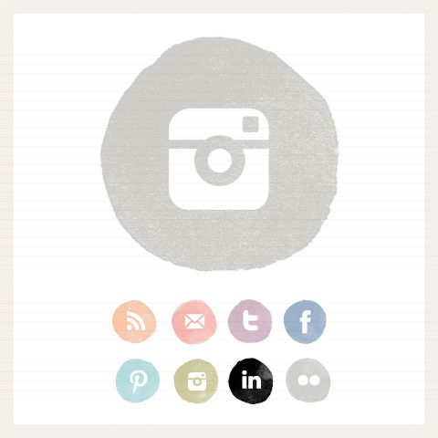 Image of Watercolour Circle Social Buttons