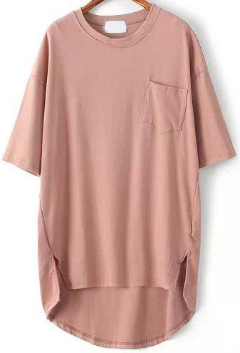 Pink Pocket Split Dip Hem T-Shirt