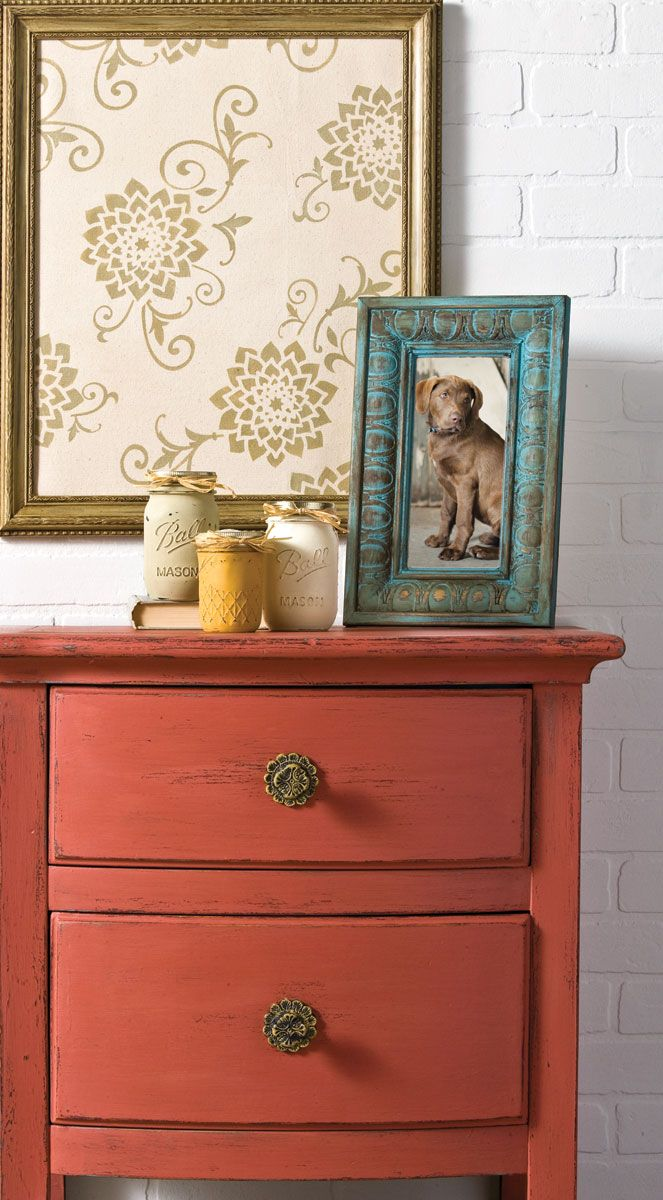 painted dresser photo frame wall frame and mason jars with folkart home decor chalk - Home Decor Chalk Paint