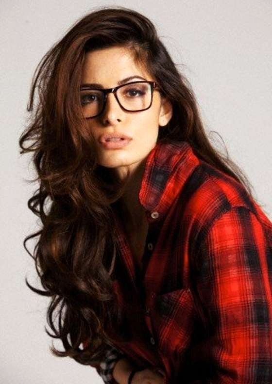 Sarah Shahi. Love the Flannel, Glasses, and hurr