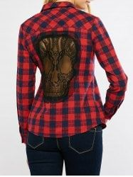 Plaid Graphic Long Sleeve Lace Panel Skull Cutout Shirt