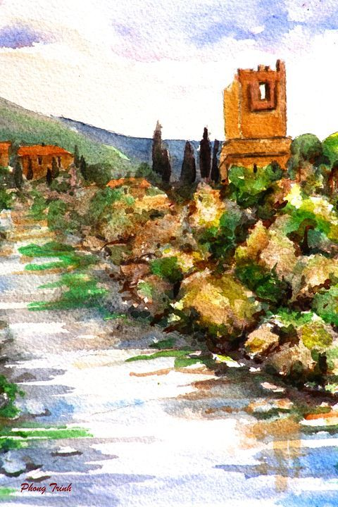 Lagrasse (15) - Phong Trinh Watercolor. More Fine Art Print Available at http://www.artpal.com/phongtrinh/
