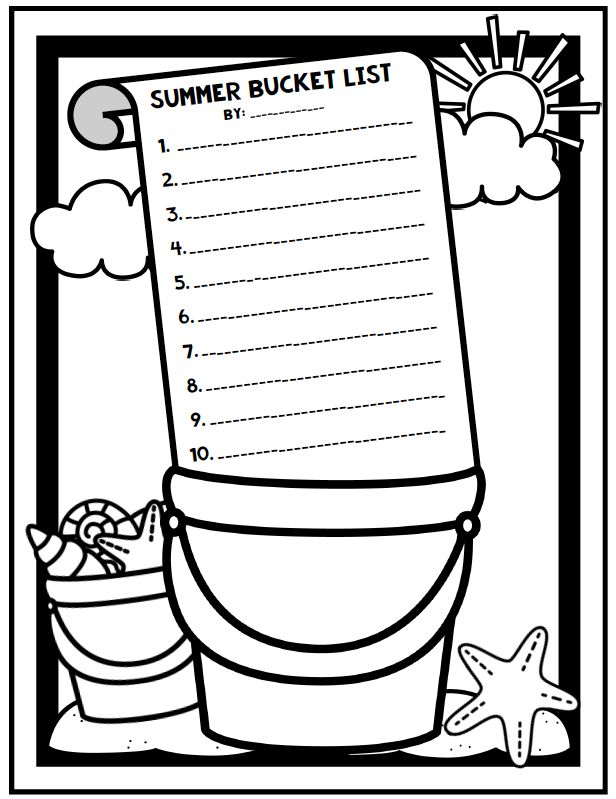 Summer Bucket List Coloring Activity Perfect For Summer And End Of Year Activity End Of Year Activities Color Activities End Of Year