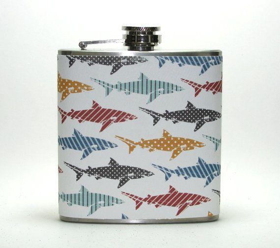 Shark Fish Fisherman Print 4, 6 or 8 oz Size Stainless Steel Liquor Hip Flask Flasks Gift Idea