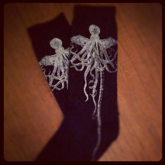 Cthulhu black socks mens  hand printed by DanceMacabre on Etsy, £7.00