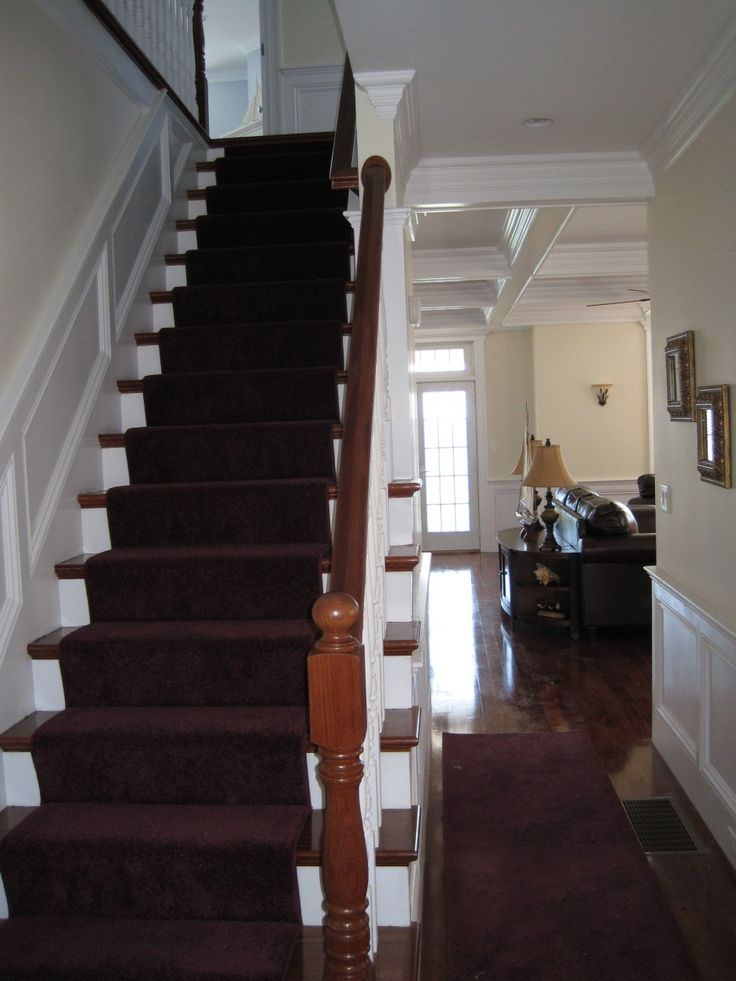 Alluring+Straight+Staircase +With+Landing+Decor+Combined+Purple+Carpet+And+White+Riser+Also+Wooden +Tread+Surface+Featuring+Solid+Wood+Railings+Including+ ...