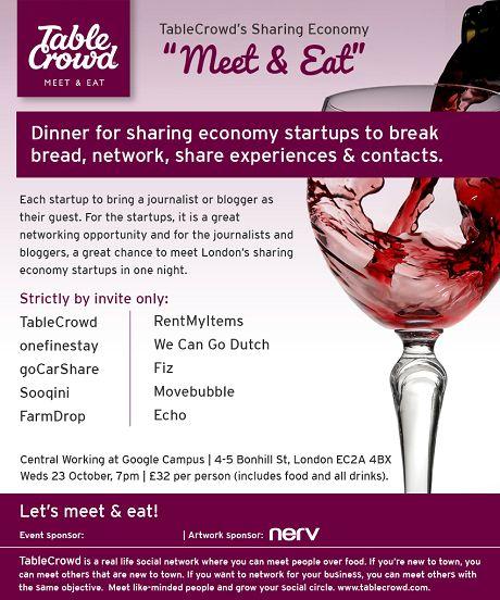 "TableCrowd's Sharing Economy Startups ""Meet & Eat"""