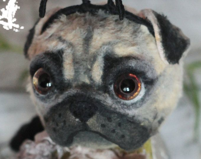 Pug toy Pug gift Pug lover gift Pug puppy Artist teddy dog Realistic puppy Pet memorial Custom dog portrait Gift for her Pet loss gift OOAK