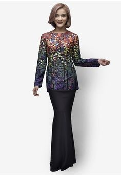 Reef Star Modern Kurung from Emel by Melinda Looi in black and multi_1