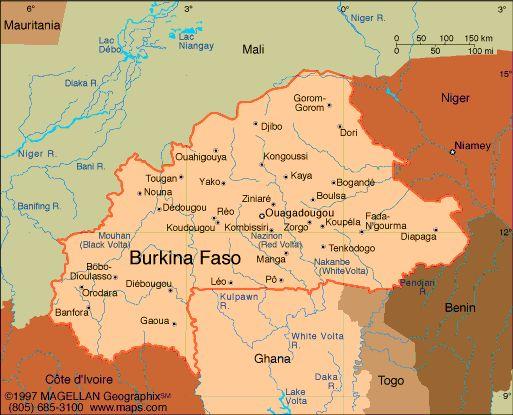 Map of Burkina Faso. Capital: Ouagadougou. Languages: French (official); native African (Sudanic) languages 90% Ethnicity/race: Mossi (over 40%), Gurunsi, Senufo, Lobi, Bobo, Mande, Fulani.