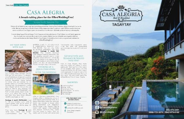 Planning an intimate wedding? Let Casa Alegria Bed & Breakfast be your venue. FLIP through the Pages of our Weddings Tagaytay Digital Magazine http://joom.ag/QXoW/p53.    HAPPY READING!  www.weddingdigest.com.ph    #weddingstagaytay #caviteweddings #venue #weddingdigestphilippines #digitalmagazine  #venue #weddingvenue #accommodation #hotel #bedandbreakfast #weddingvenuetagaytay #weddingsph #philippineweddings #weddings #tagaytayweddings #casaalegria #emagazine #weddingmagazine…