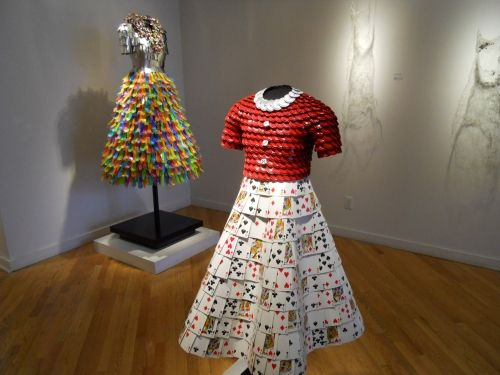The dress in the front is bottle caps and playing cards ...