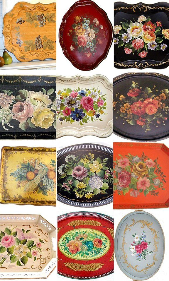 Tole trays // variety of floral patterns and colors, collage on a wall to display collection.