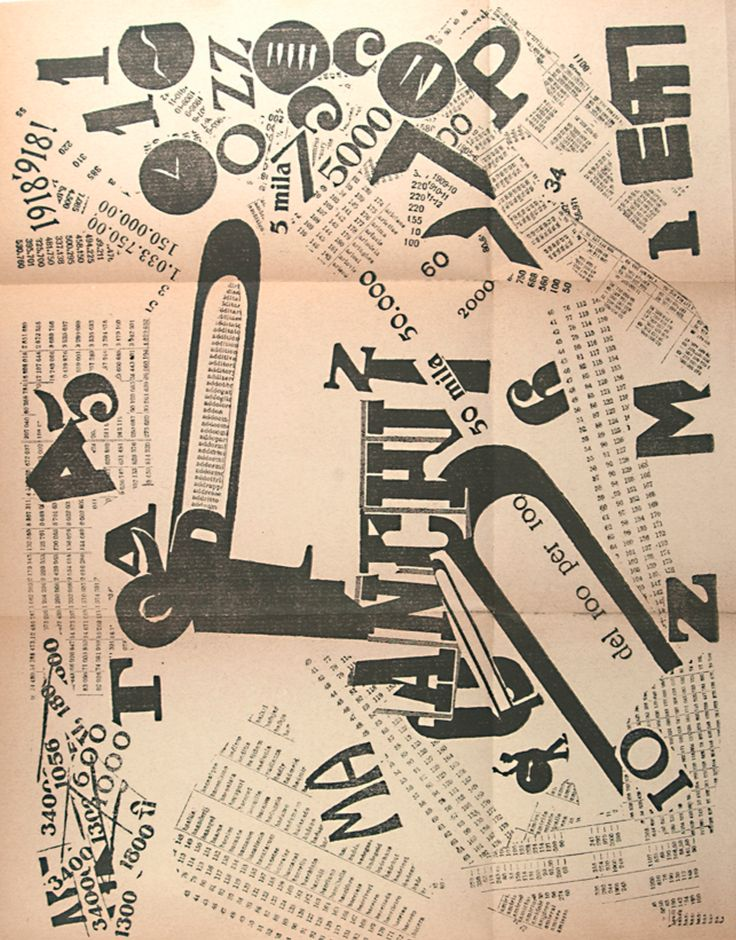 Written and designed by Filippo Tommaso Marinetti (1876-1944), 1919, Les Mots en…