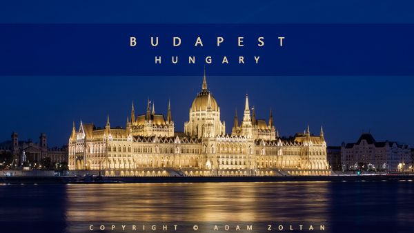 The illuminated Parliament building in Budapest, Hungary.