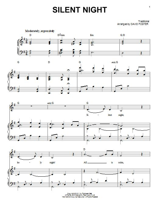 Michael Buble Silent Night Easy Piano Sheet Music, Chords