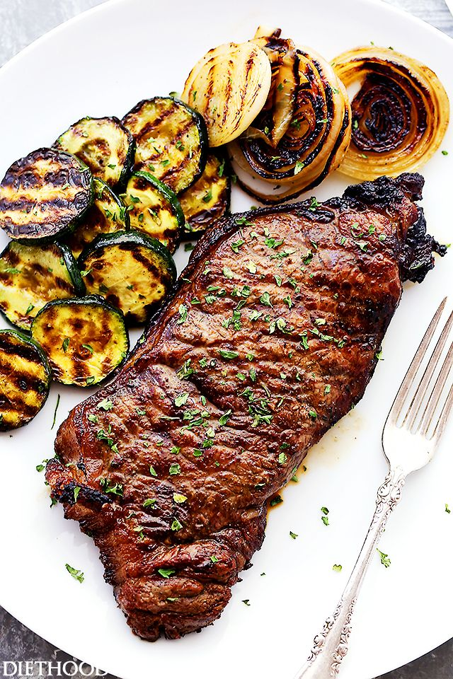 New York Strip Steaks marinated in one of the most delicious marinades made with Jack Daniel's Whiskey and Soy Sauce. Our favorite steak house meal made at home!