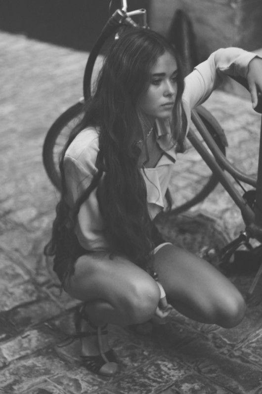 girl by bike
