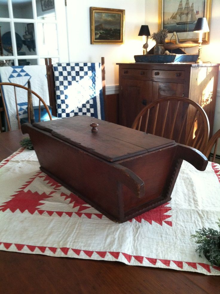 Outstanding Early New England Dough Box w Lid Orig Red Sq Nails         eBay  sold   600.00.    ...~♥~