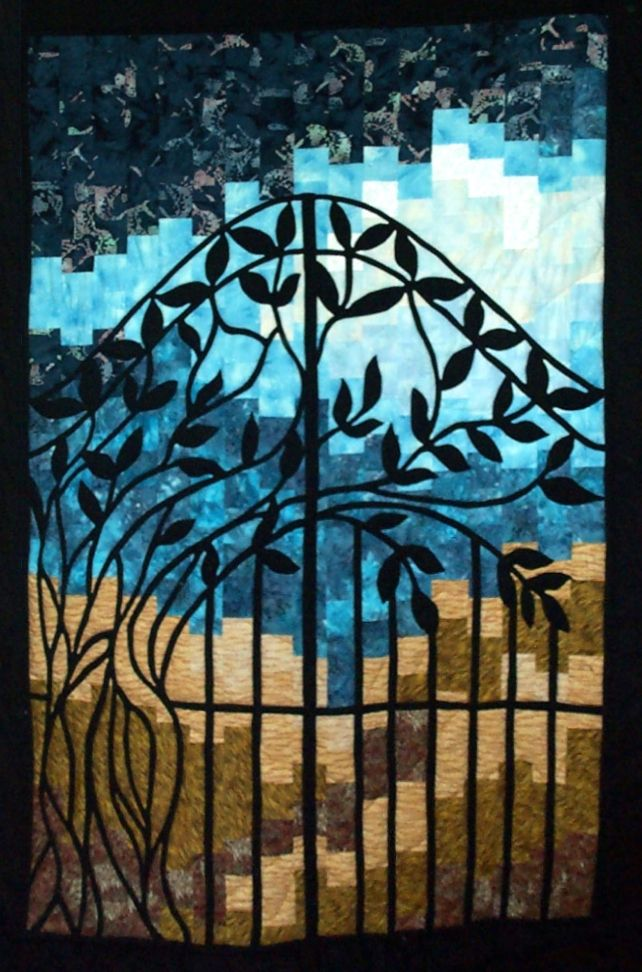"""""""Enchanted View"""" quilt by Susan Kraterfield.  Garden gate applique on a bargello background.  Gate design from a photo in the book, Enchanted Views: Quilts Inspired by Wrought Iron Designs, by Dilys A. Fronks."""