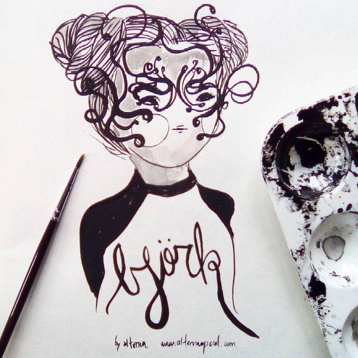 https://flic.kr/p/M9dnhF | Björk 💛💚💙💜💛💛🐈✨ #bjork #björk #inktober #inktoberday11 #inktober2016 #alterna #feminism #feminismo #tintachina #ink  #power #femmepower #femme #femenino #mujer #woman