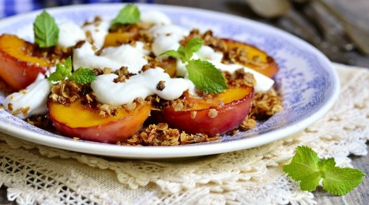 "#italy #gourmetfood #italianfood #romantic #healthy #valentinesday   Little Italy by Debora   ""Pesche alla griglia"" Grilled peaches served with fresh ricotta and chopped pistachio nuts."