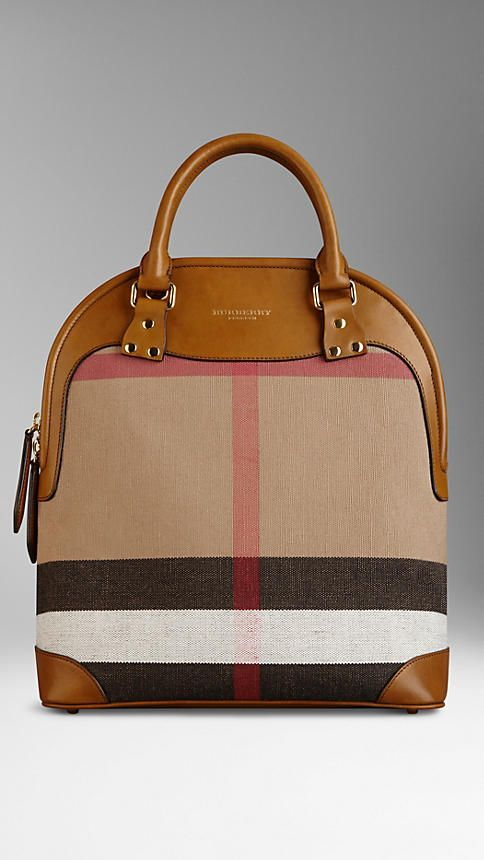 The Medium Bloomsbury in Canvas Check and Leather   Burberry 1495