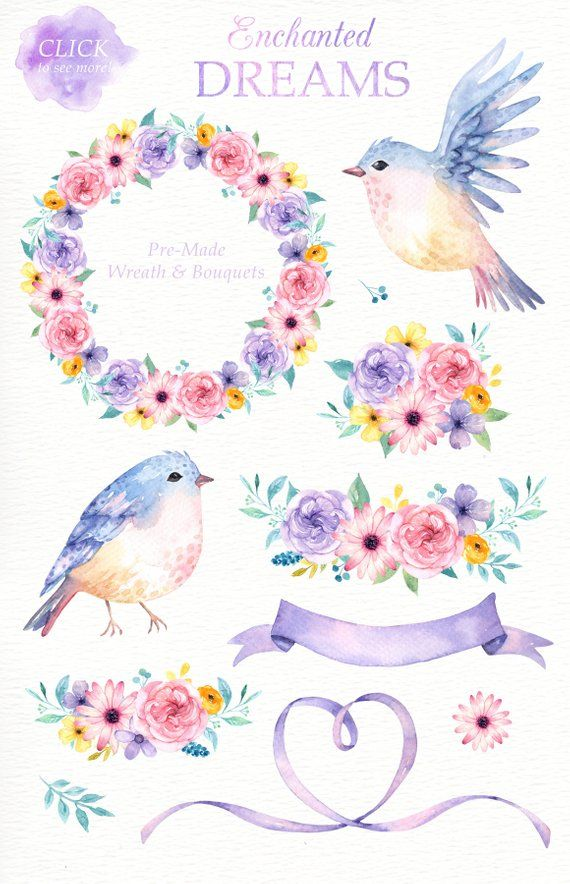 Enchanted Dreams Watercolor Clipart Romantic Wedding Watercolor