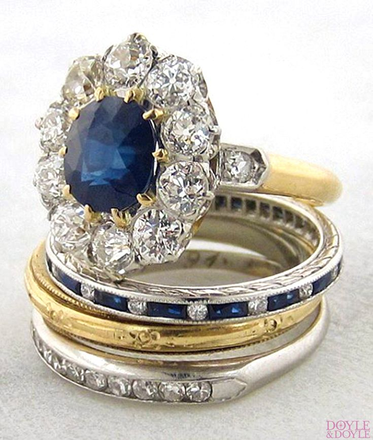 Classic antique sapphire and diamond engagement ring, stacked with wedding bands, all from Doyle & Doyle. Click to see more sapphires!