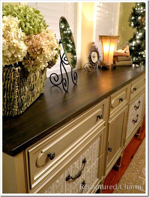 Old Dresser Makeover Love The Color For Dining Room I Want To Make A Coffee Bar Out Of An