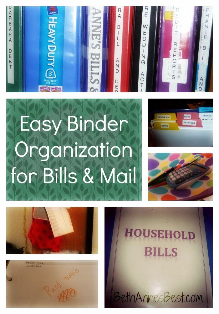 Easy Binder Organization for Bills & Mail